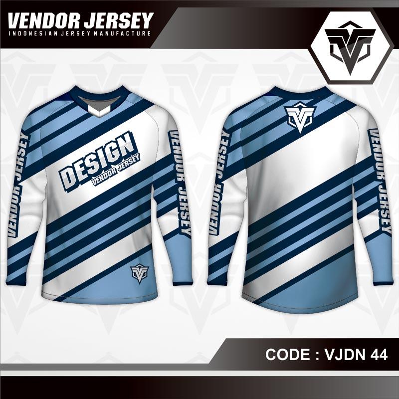 Desain Kaos Sepeda Warna Biru Putih Motif Garis Hitam