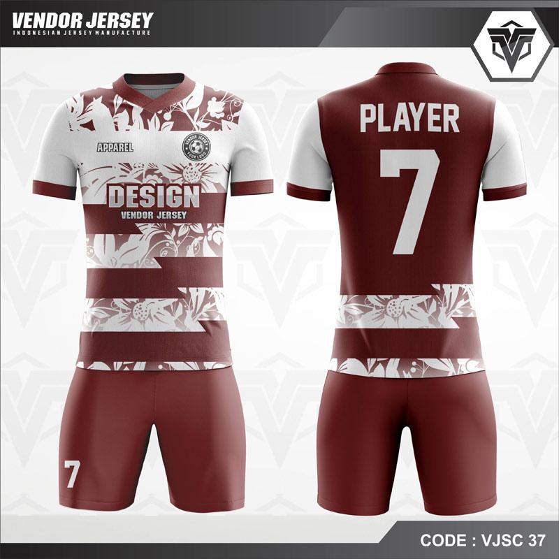 Desain Kostum Futsal Motif Kembang Warna Coklat Putih