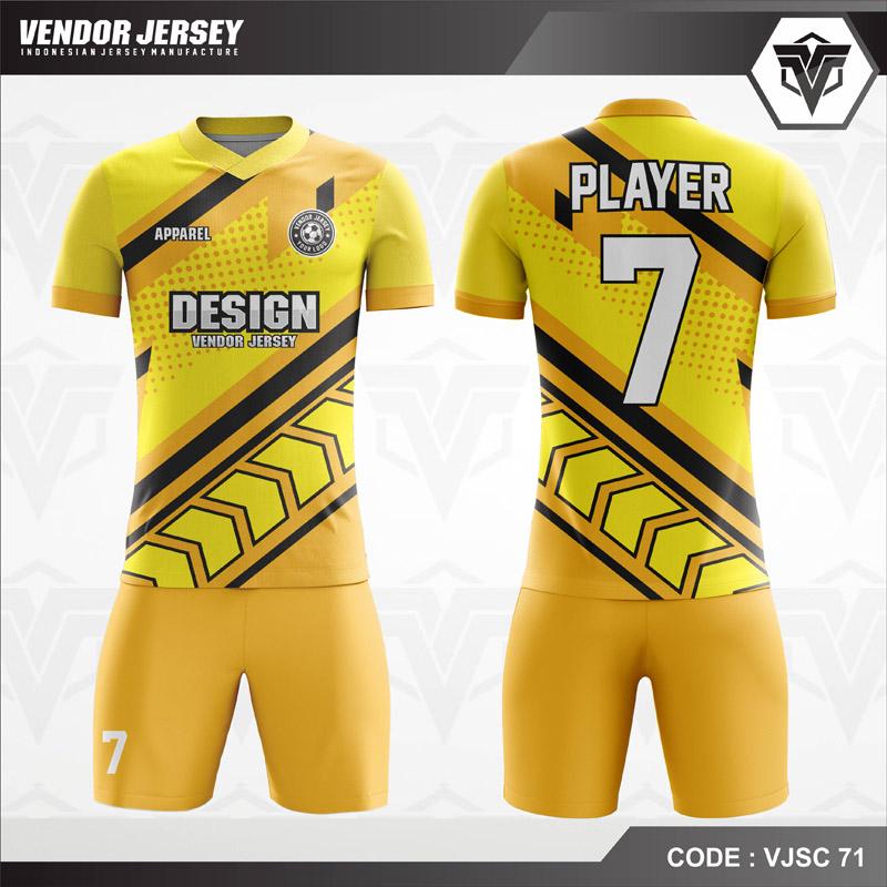Desain Kostum Futsal Warna Kuning Sangat Menggoda