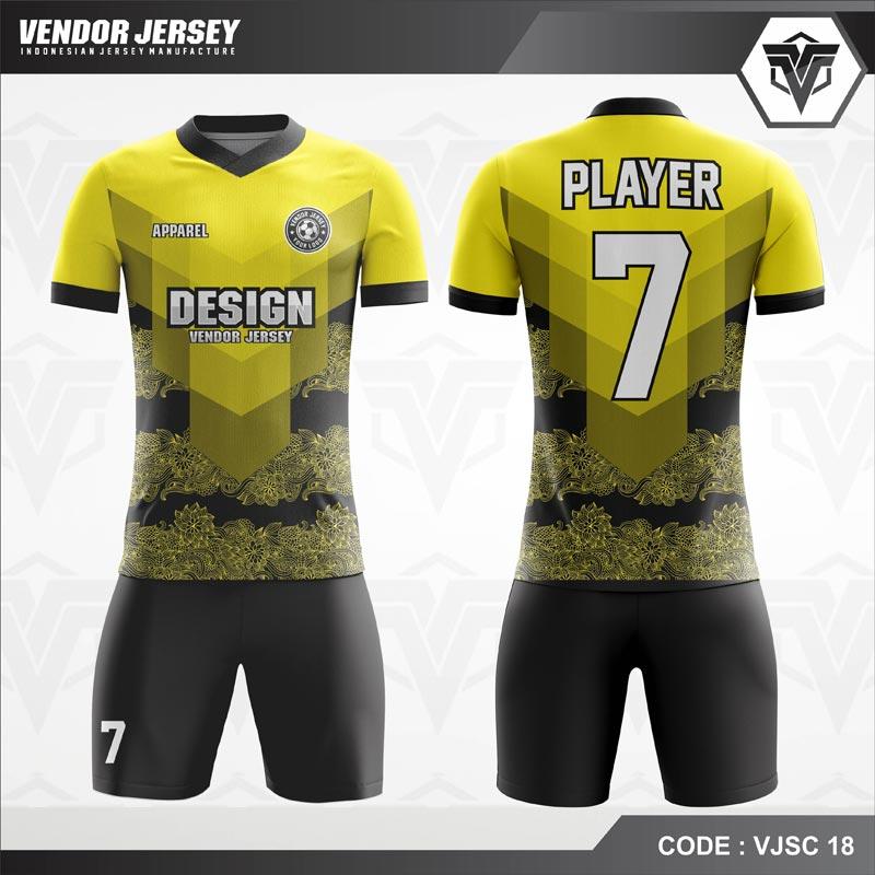 Desain Baju Futsal Motif Batik Bunga Warna Kuning Hitam