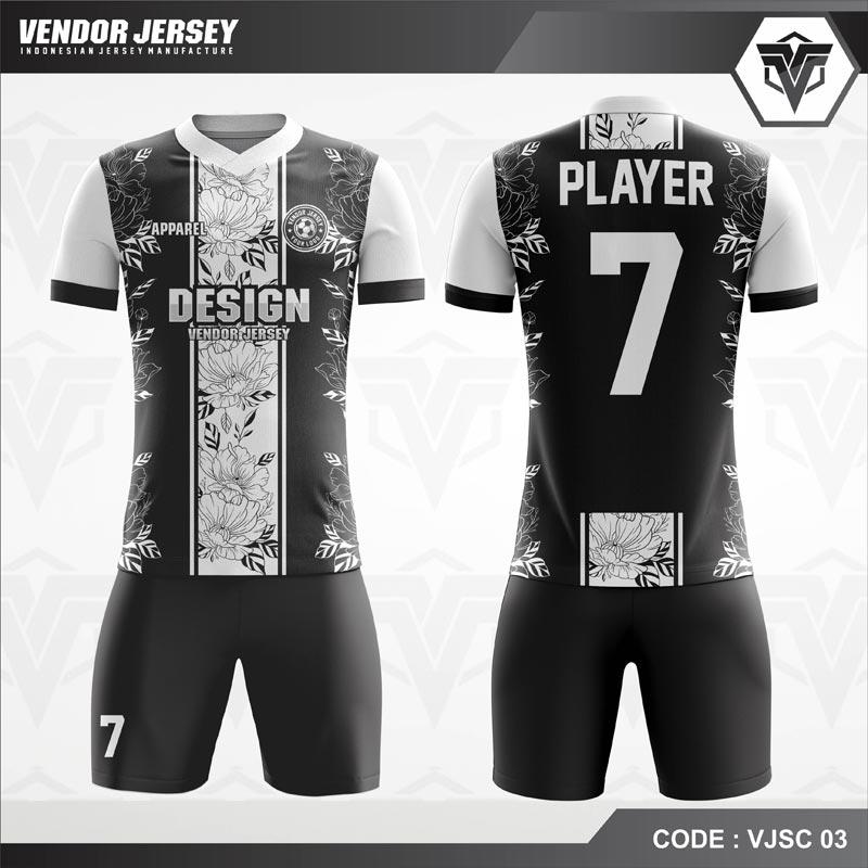 Desain Baju Futsal Motif Kembang Warna Hitam Putih