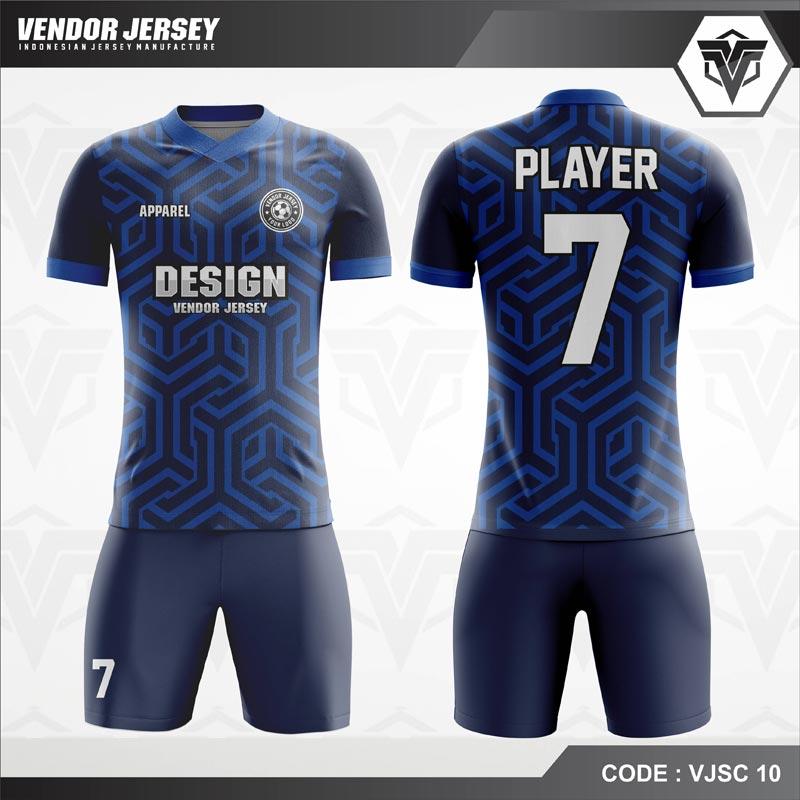 Desain Baju Futsal Warna Biru Berornamen Modern