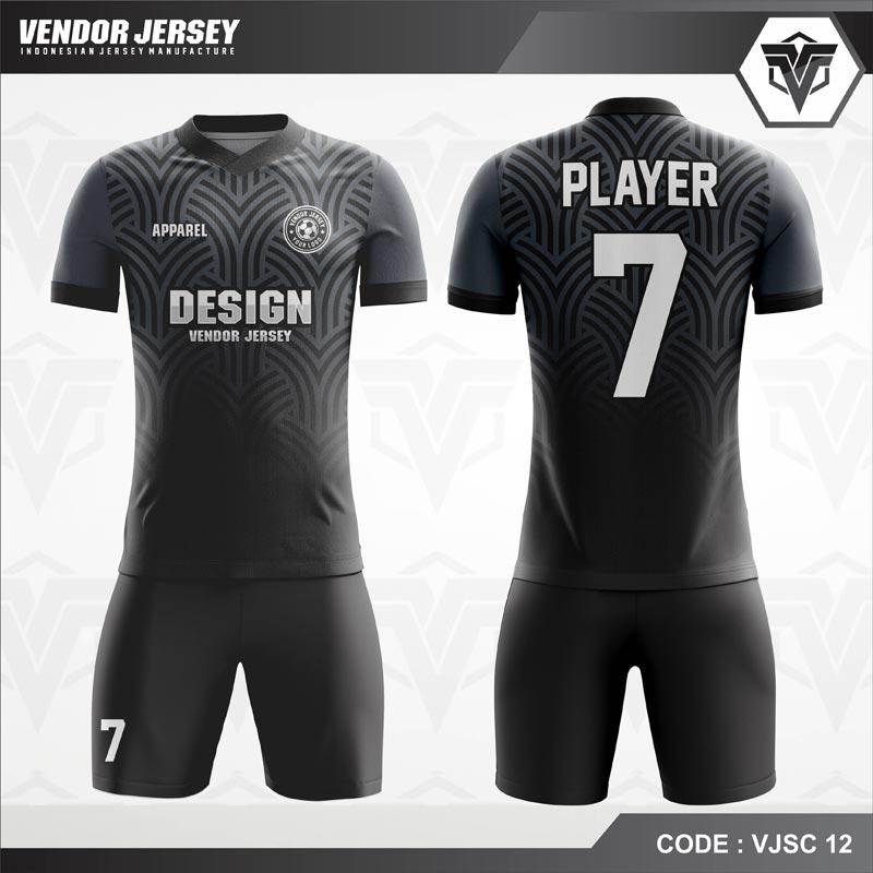 Desain Baju Futsal Warna Hitam Motif Ornamen Terbaru