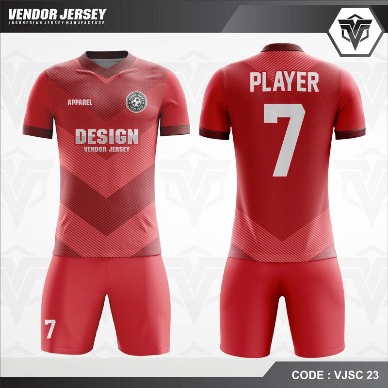 Desain Baju Futsal Warna Merah Motif Garis Minimalis