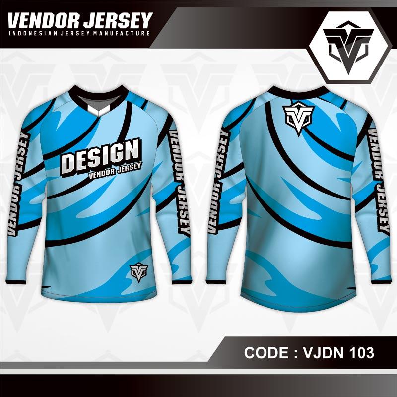 Desain Baju Sepeda Motif Gradasi Warna Biru Yang Menawan