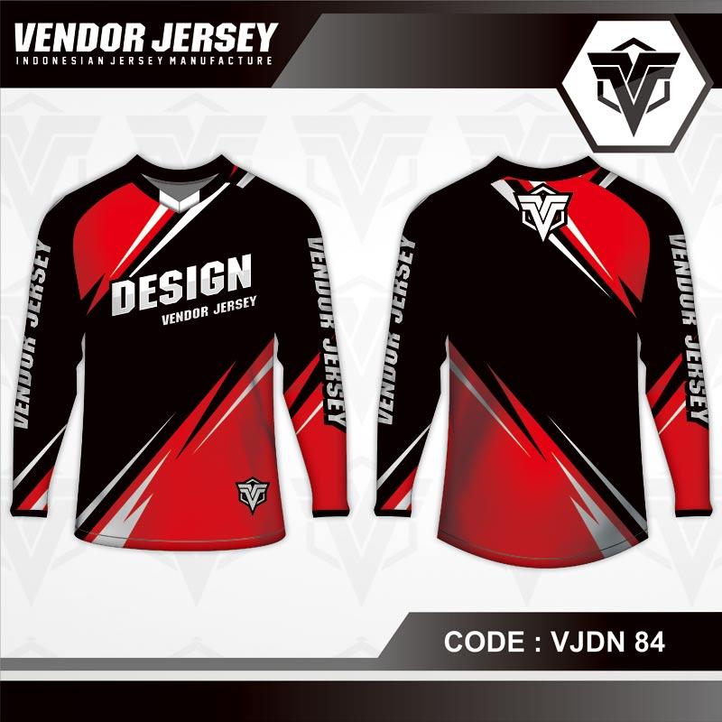 Desain Baju Sepeda Warna Hitam Merah Simple Berkelas