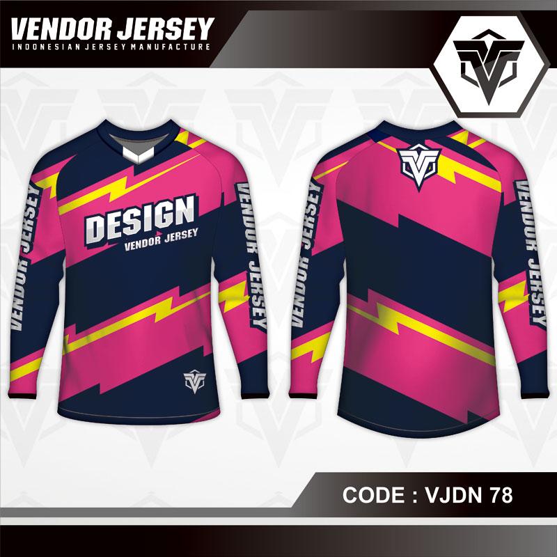 Desain Baju Sepeda Warna Hitam Pink Motif Petir