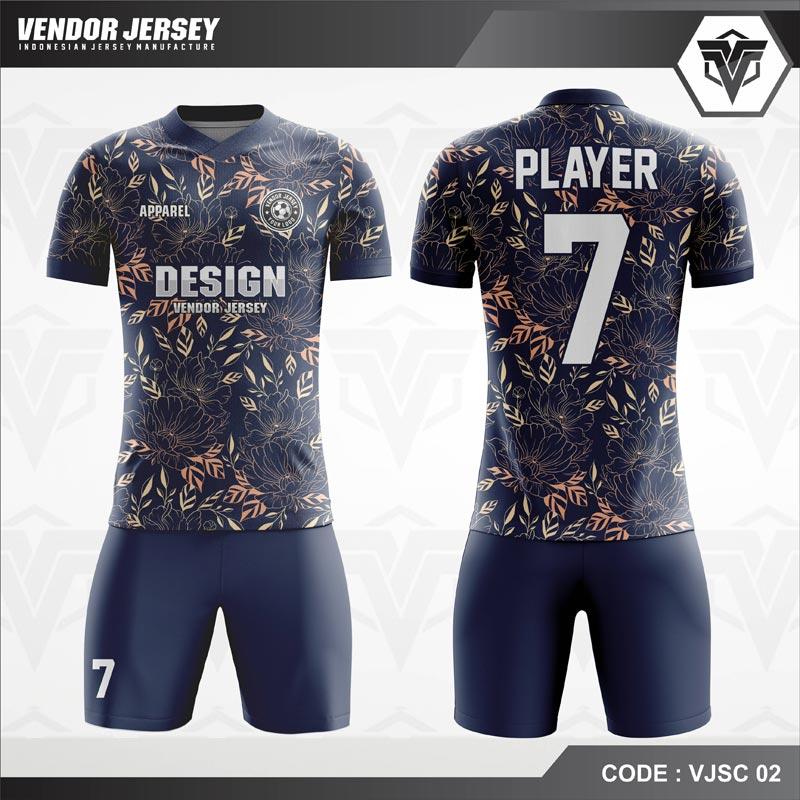 Desain Jersey Futsal Motif Bunga Warna Biru Dongker Yang Anggun