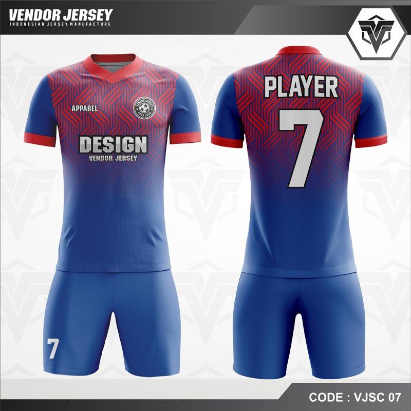 Desain Jersey Futsal Warna Biru Merah Berornamen Modern