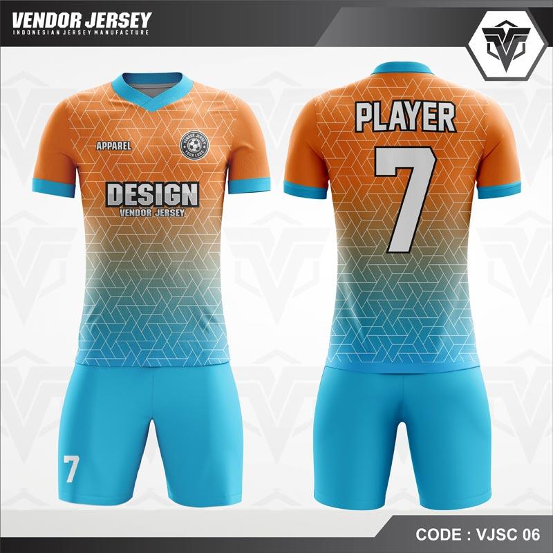 Desain Jersey Futsal Warna Orange Biru Motif 3D Hexagonal