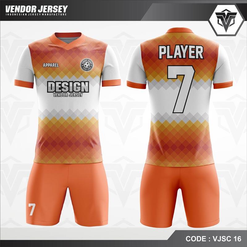 Desain Jersey Futsal Warna Orange Putih Motif 3 Dimensi