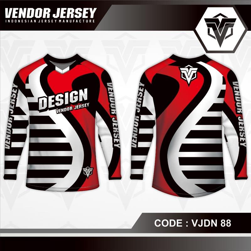 Desain Jersey Sepeda Motif Bergelombang Warna Merah Putih Hitam