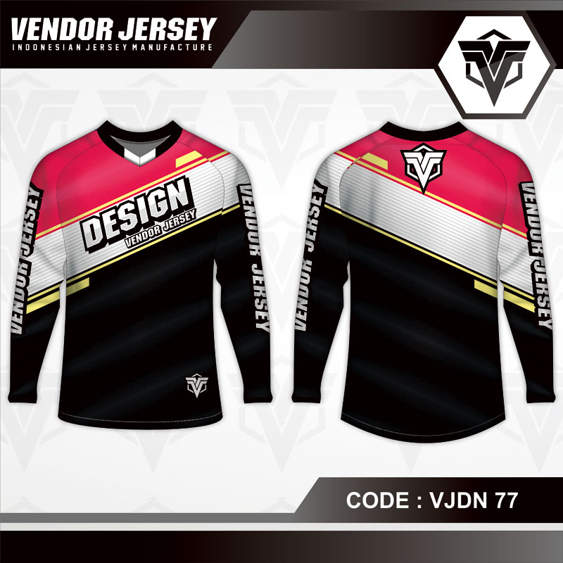 Desain Jersey Sepeda Warna Merah Putih Hitam Minimalis
