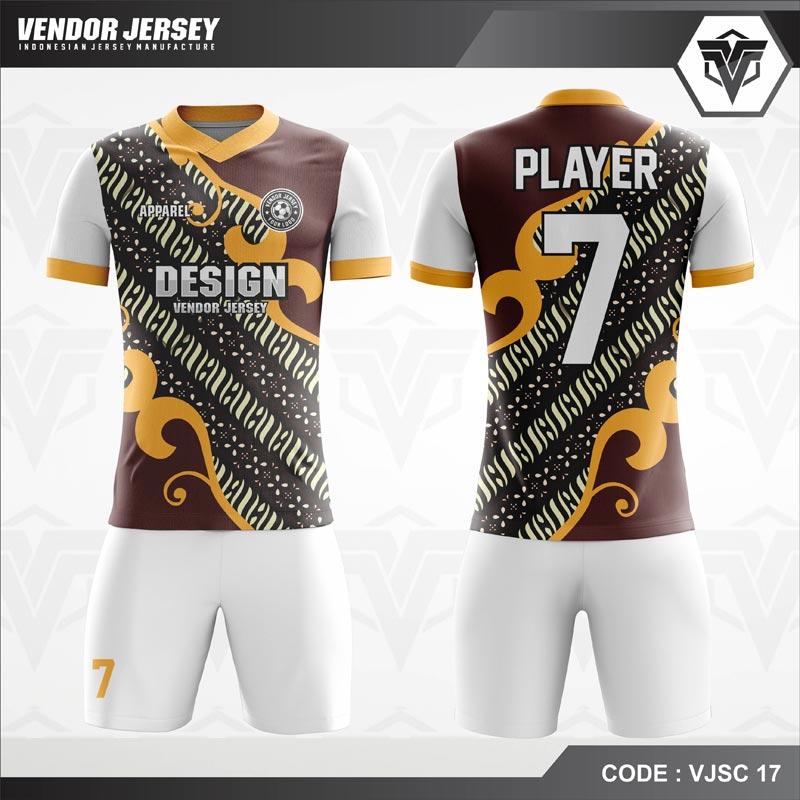 Desain Kaos Futsal Motif Batik Warna Coklat Putih
