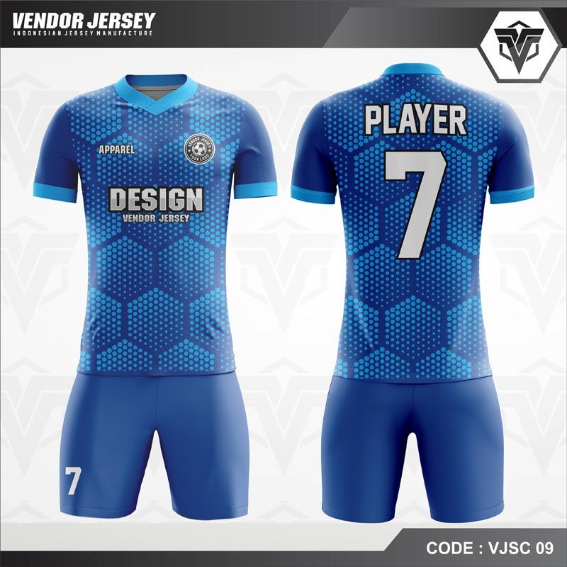 Desain Kaos Futsal Motif Hexagonal Warna Biru