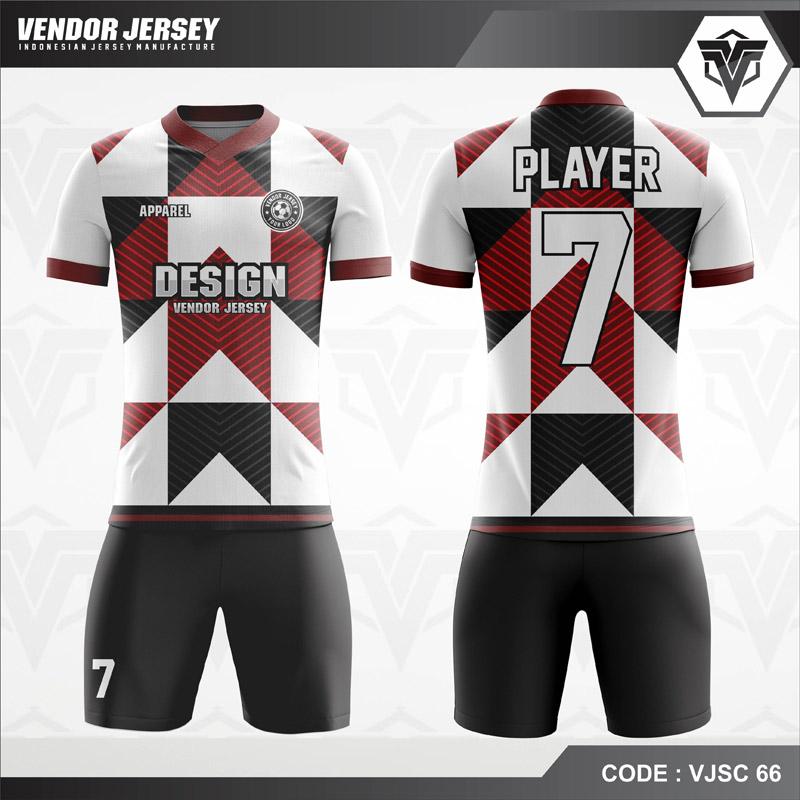 Desain Kaos Futsal Warna Hitam Putih Coklat Motif Line Modern