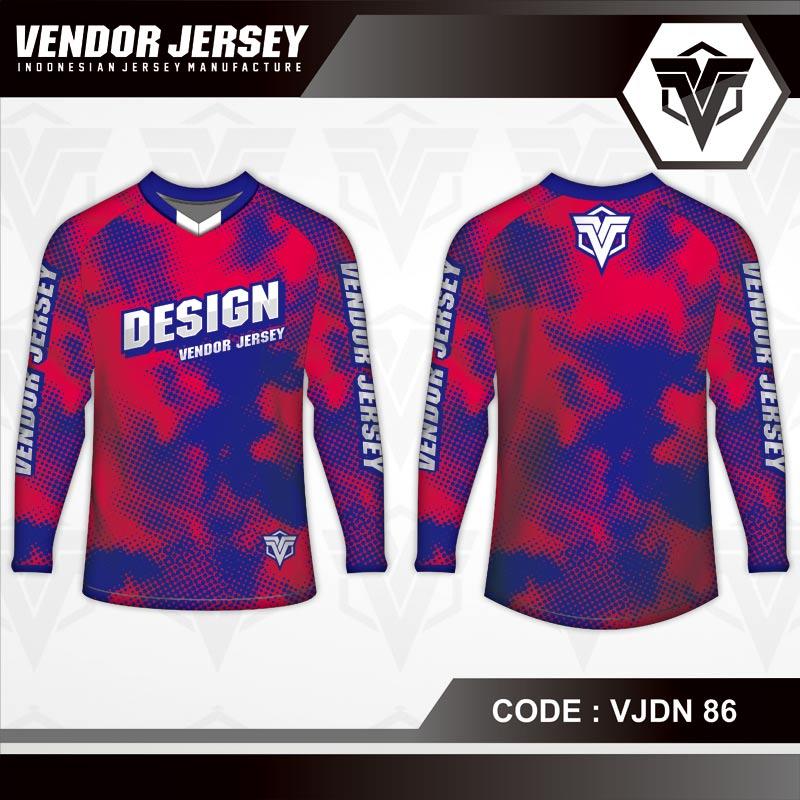 Desain Kaos Sepeda Motif Bercak Warna Merah Biru Terbaru