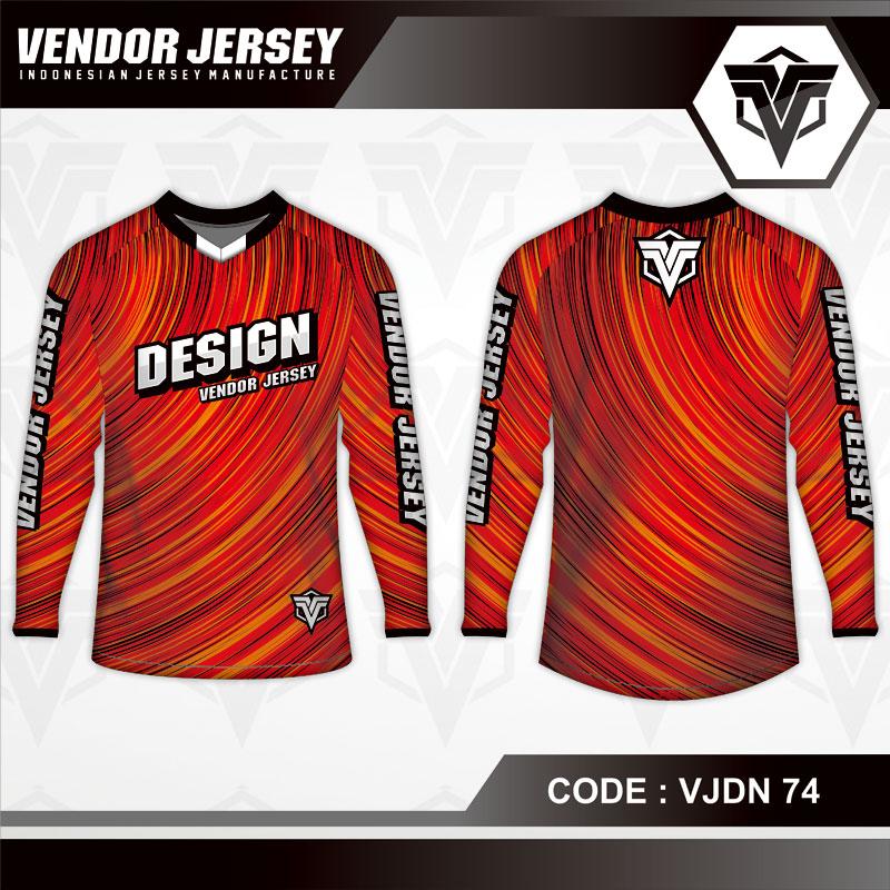 Desain Kaos Sepeda Motif Bergelombang Gradasi Warna Merah