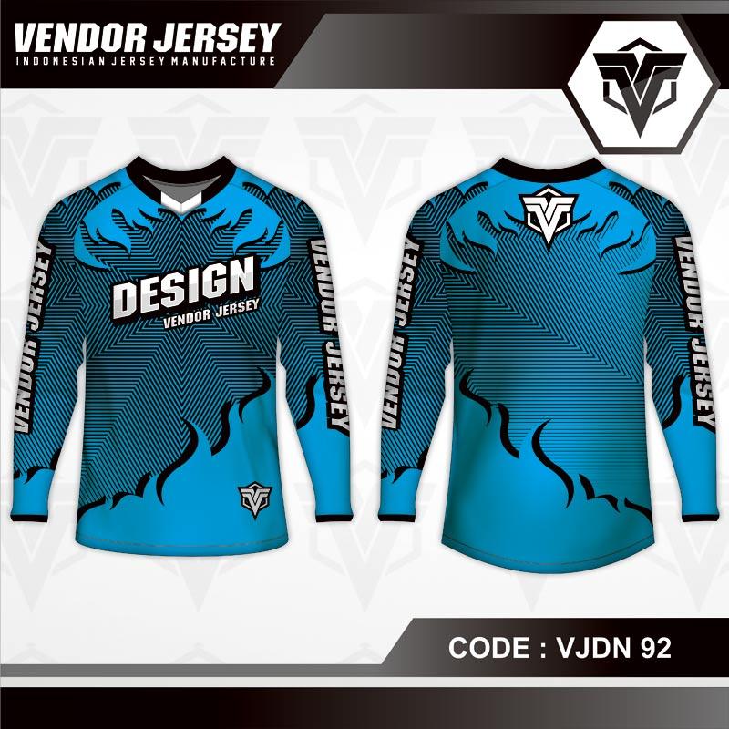 Desain Kaos Sepeda Motif Bergelombang Warna Biru Yang Unik