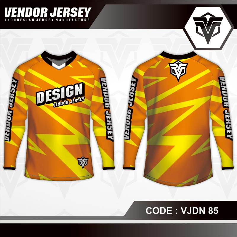 Desain Kaos Sepeda Warna Coklat Motif Zig Zag Terbaru