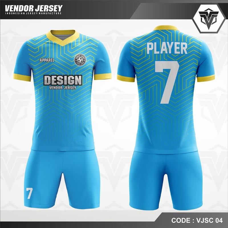 Desain Kostum Futsal Warna Biru Minimalis Yang Elegan
