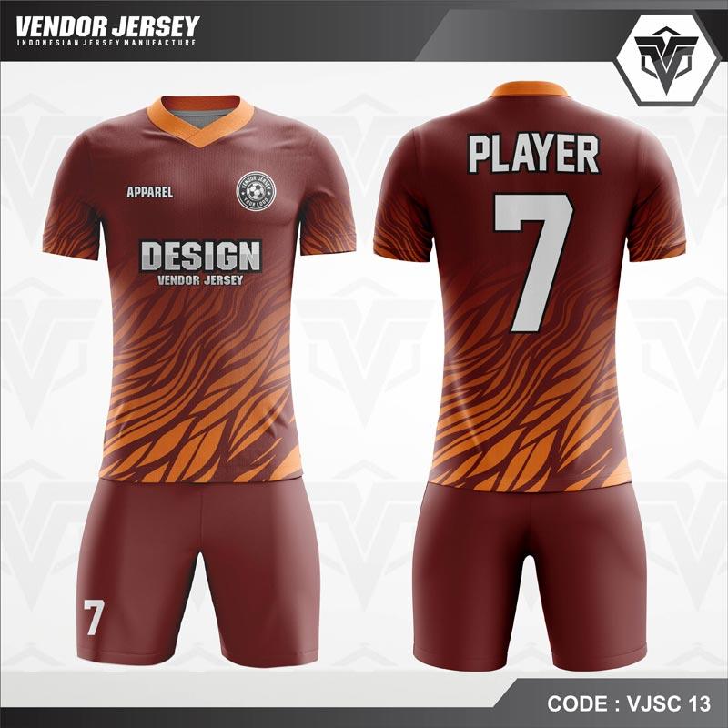 Desain Kostum Futsal Warna Coklat Motif Lautan Api