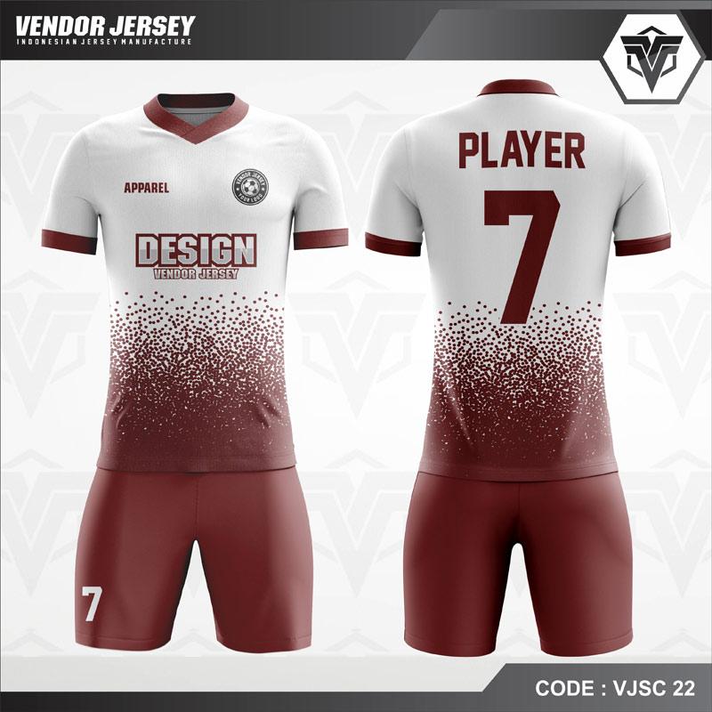 Desain Kostum Futsal Warna Putih Coklat Terbaru