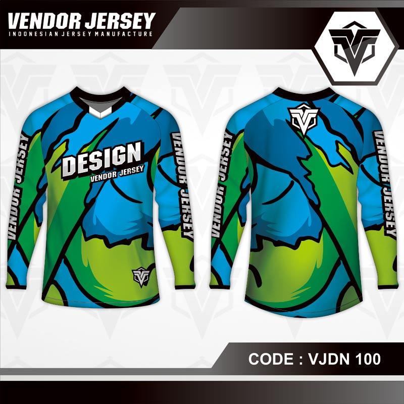 Desain Seragam Sepeda Warna Biru Hijau Motif Bergelombang Terbaru