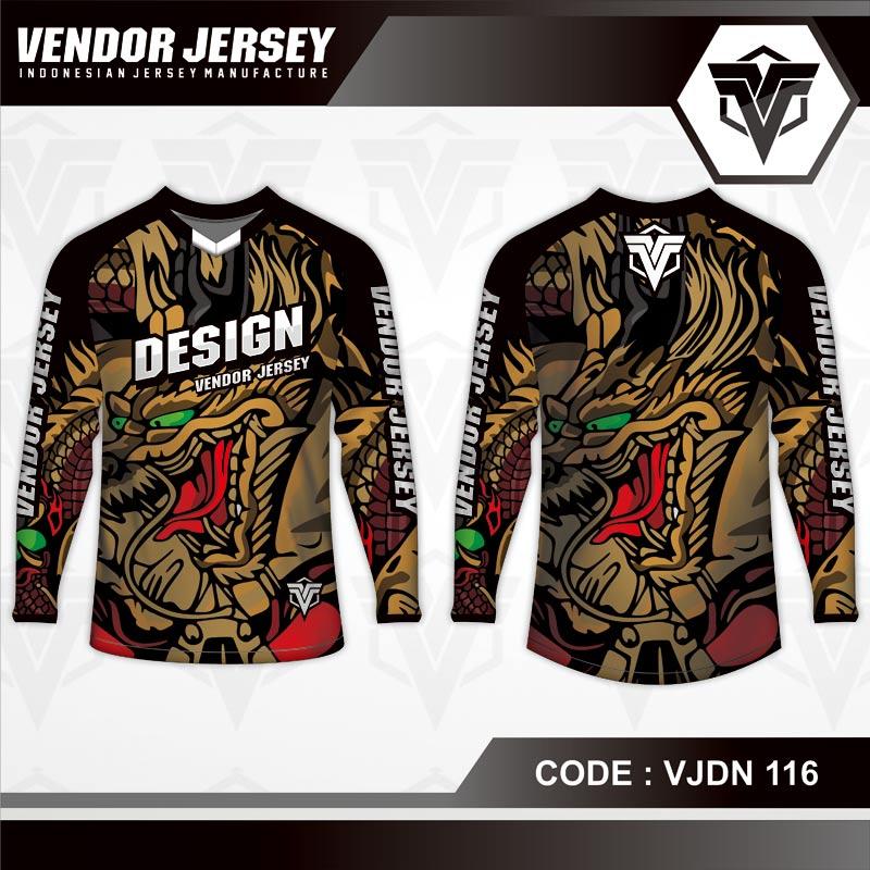 Desain Baju Sepeda Full Print Motif Naga Paling Keren
