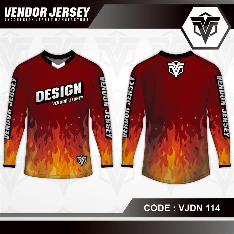 Desain Kaos Sepeda Full Print Warna Merah Motif Lautan Api