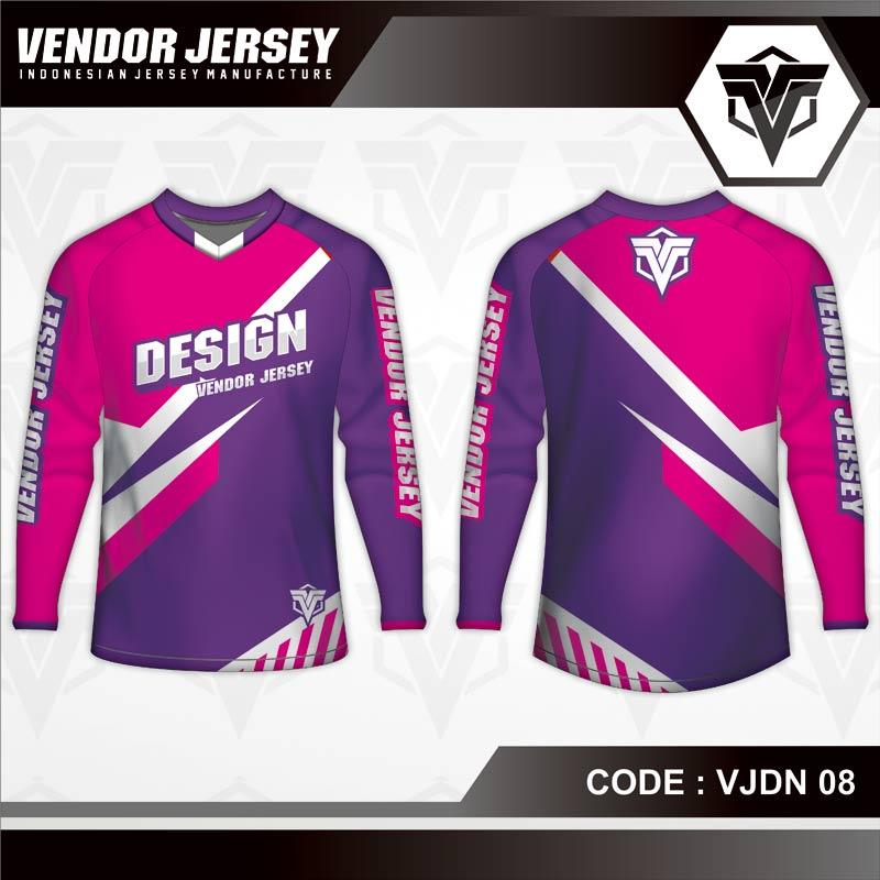 Desain Baju Sepeda Printing Warna Ungu Pink Yang Kekinian