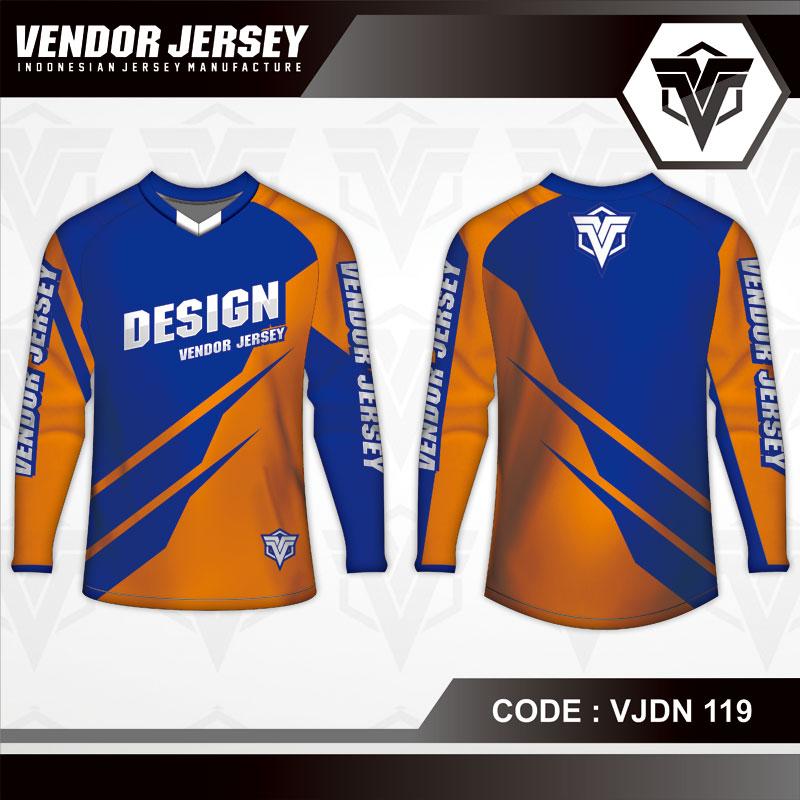Desain Baju Sepeda Warna Biru Orange Yang Trendy