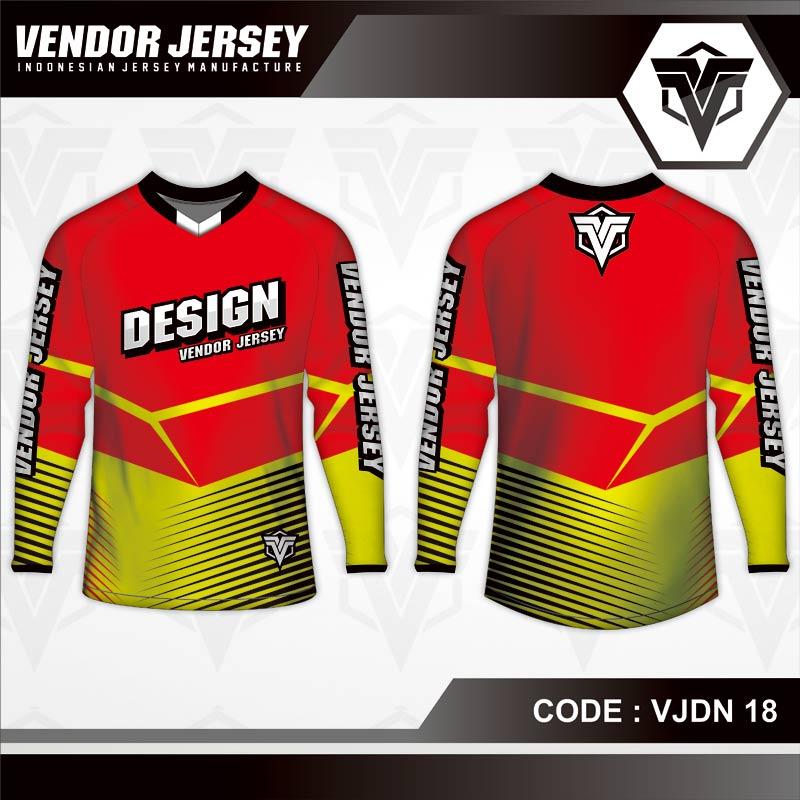 Desain Baju Sepeda Warna Merah Kuning Sederhana