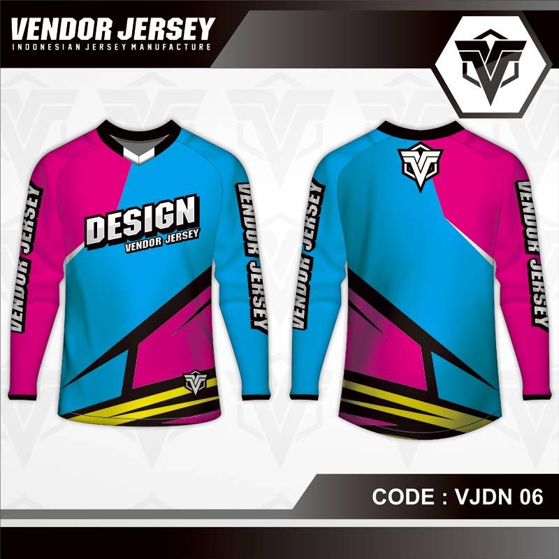 Desain Jersey Sepeda Warna Biru Ungu Pink Yang Dinamis