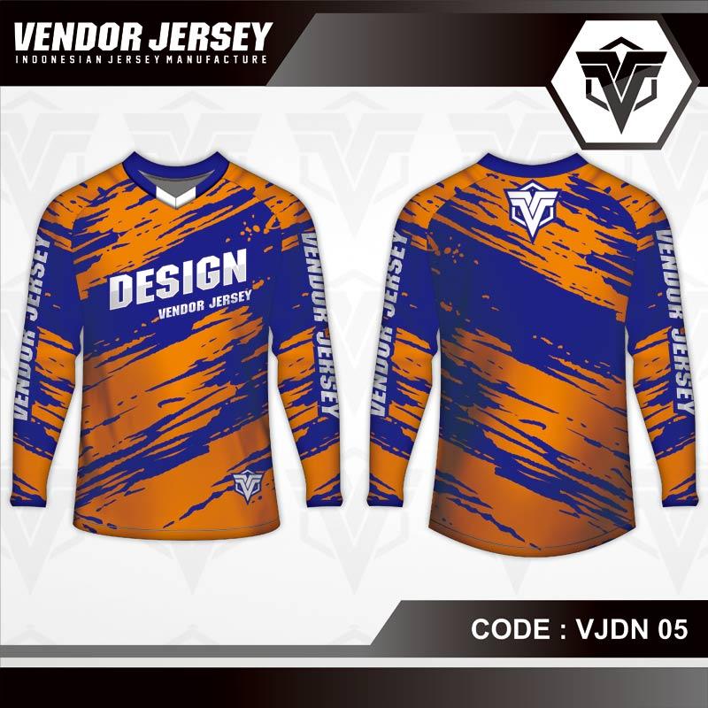 Desain Kaos Sepeda Printing Warna Biru Orange Yang Trendy