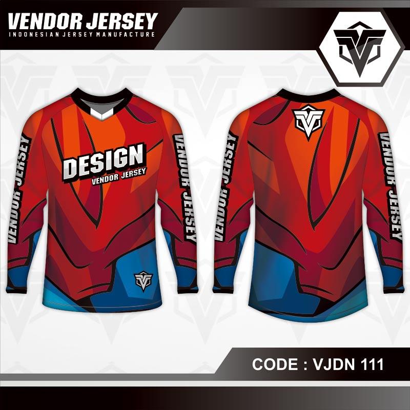 Desain Kaos Sepeda Warna Merah Biru Simple Tapi Keren