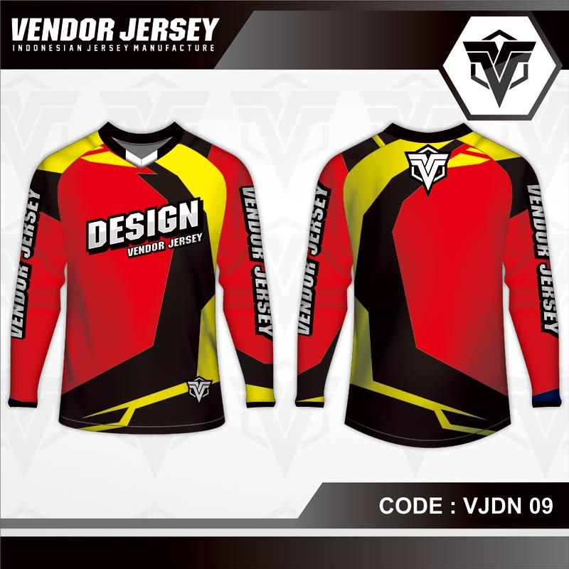 Desain Kaos Sepeda Warna Merah Hitam Kuning Yang Menawan